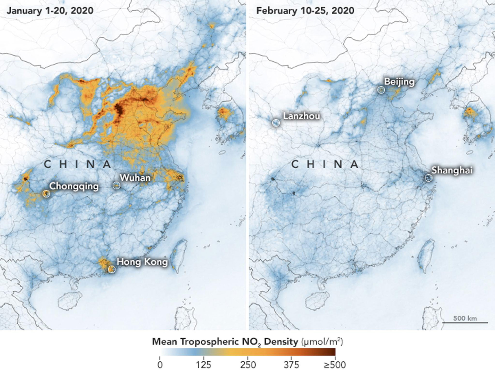 Satellite images of China show decrease in air pollution due to coronavirus epidemic